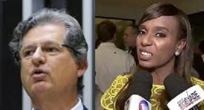 Jutahy Magalhães e Tia Eron ao se queixarem à tripulação dos protestos das mulheres, mostraram a intolerância que garça no mundo político. Fotos - reproduções
