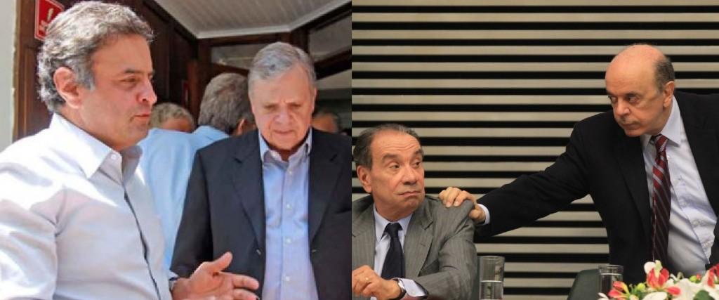 """Aécio Neves, Tasso Jereissati, Aluísio Nunes e José Serra: """"a ficha deles caiu, estão todos na bandeja para serem comidos"""", afirmou Jucá - Foto: montagem sobre reproduções"""