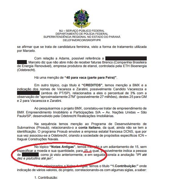 Relatório da Polícia Federal indicava que Marcelo Odebrecht envolvia José Serra no escândalo, mas o nome do então senador e hoje ministro, foi tampado. O JornalGGN depois mostrou como se confirmava que era de Serra o nome riscado. Reprodução do JornalGGN