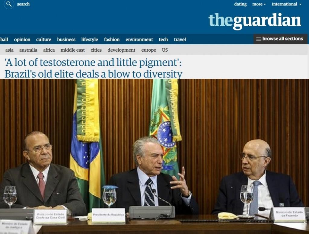 Reprodução do artigo na página do The Guardian