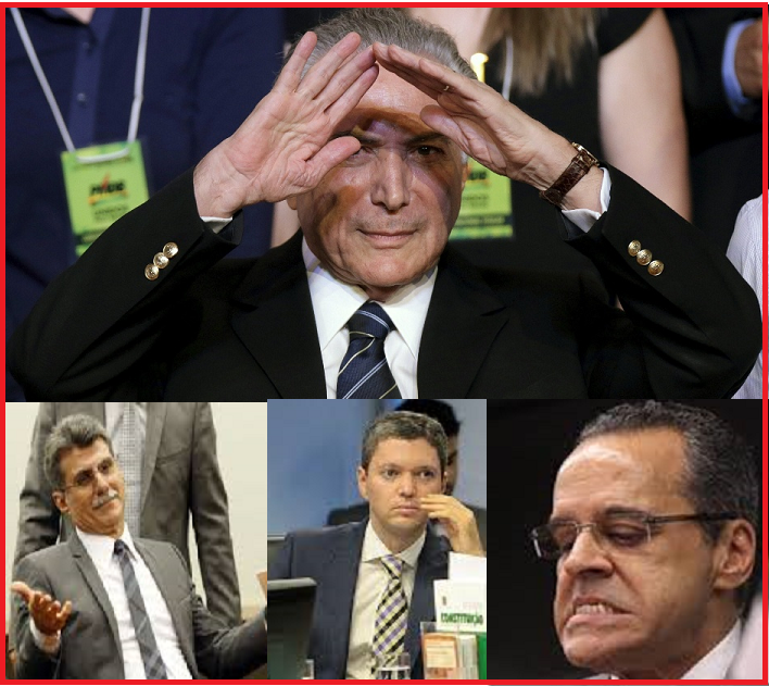 Temer equilibra-se na corda bamba de onde já caíram três ministro: Romero Jucá, Fabiano Silveira e Henrique Alves. Fotos reprodução.