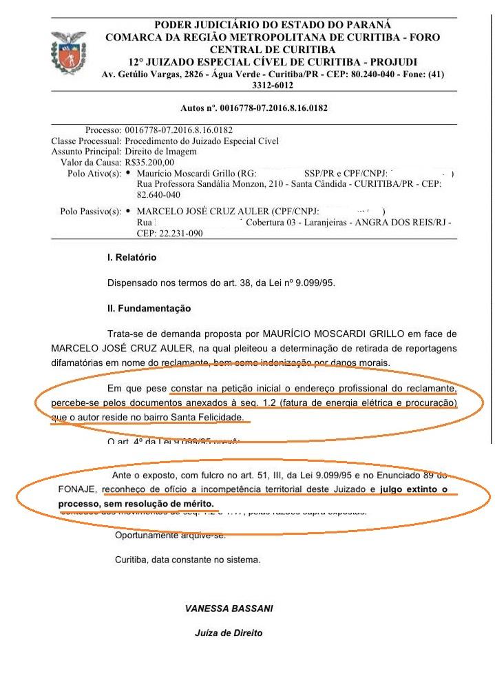 Juiza Vanessa Bassani extingue a ação de Moscardi por  apresentar dois endereços. (Reprodução editada)