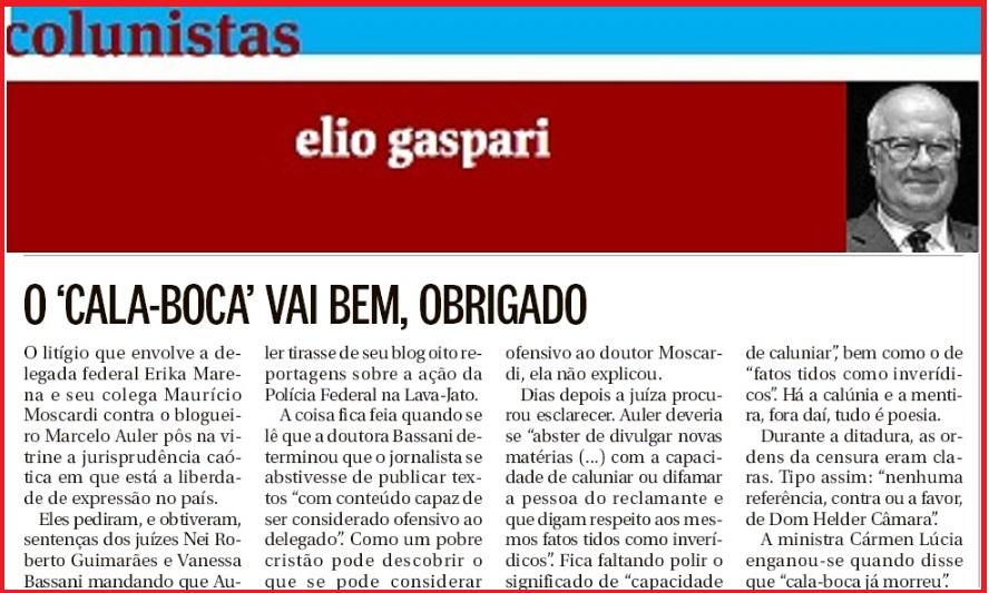 Gaspari e a defesa da liberdade de expressão;
