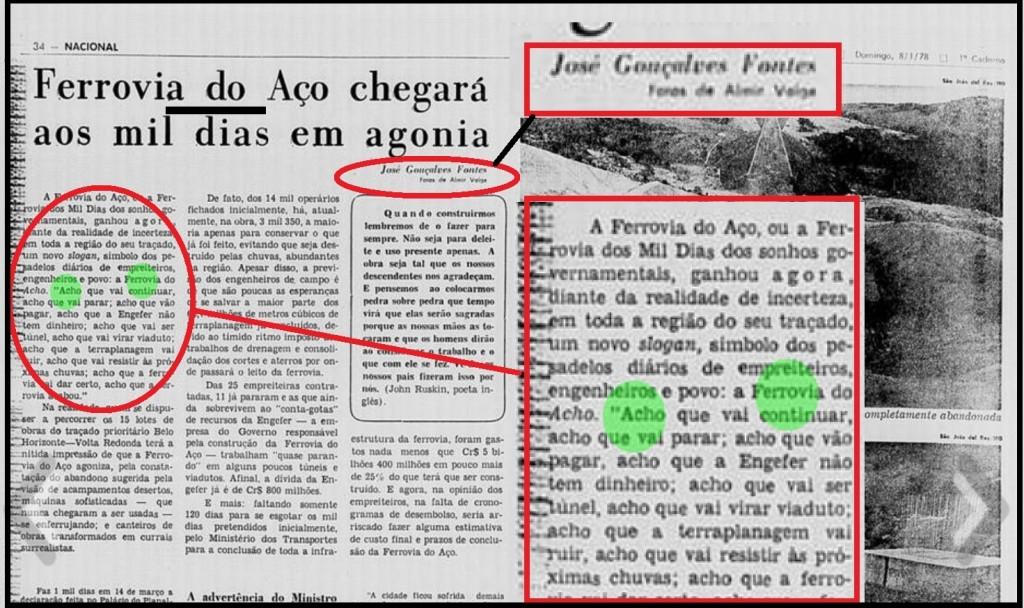 """Na reportagem de janeiro de 1978, José Gonçalves Fontes jogou com o """"achômetro"""" em torno  da Ferrovia do Aço cunhando o slogan a """"ferrovia do acho"""". Hoje vivemos em uma """"nação do acho"""""""
