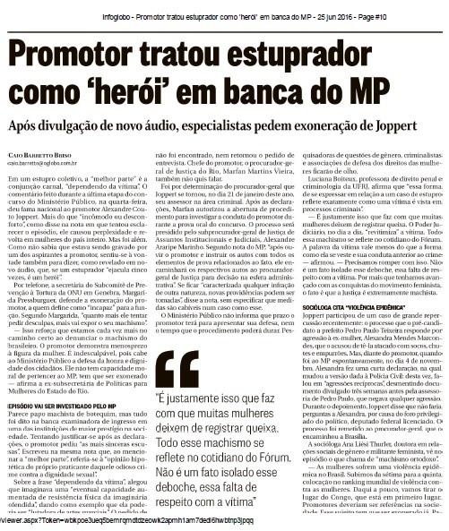 materia O Globo sabado 25.06