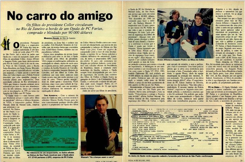 A reportagem, em 1992, sobre o carro que atendia os filhos de Collor. Apuração até a madrugada de sábado. Reprodução