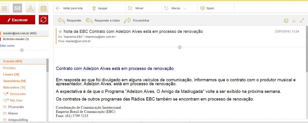 """Email da Comunicação Social da EBC anunciando a volta do """"Amigo da madrugada"""""""