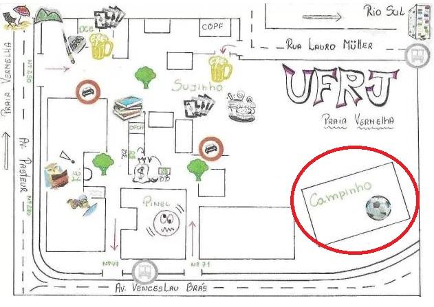 Mapa do Campus da Praia Vermelha UFRJ