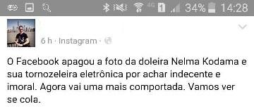 mensagem no Instagran falando da foto rejeitada no face book