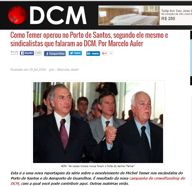 N segunda reportagem da série que o blog e o Diário do Centro do Mundo estão fazendo, mostramos as incoerências entre o discurso de Michel temer e a realidade da sua interferência no Porto de Santos. Reprodução.