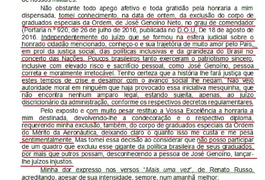 """Na carta ao comandante da FAB, Aragão expõe: """"Não vejo autoridade moral em ninguém que haja provocado essa iniciativa mesquinha, que não encontra nenhum amparo legal, estando sujeita, apenas, ao juízo discricionário da administração"""" oe?"""