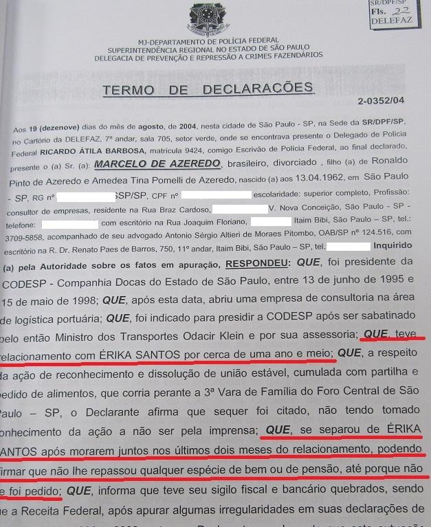 No depoimento de Marcelo Azeredo as informações sobre o relacionamento dele com Erika, divergem.....