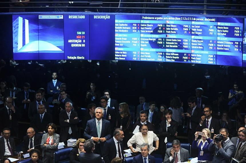 No plenário do Senado, o que deveria ser um julgamento isento, tornou-se um jogo de carta marcada. Foto Marcos Oliveira /Agência Senado