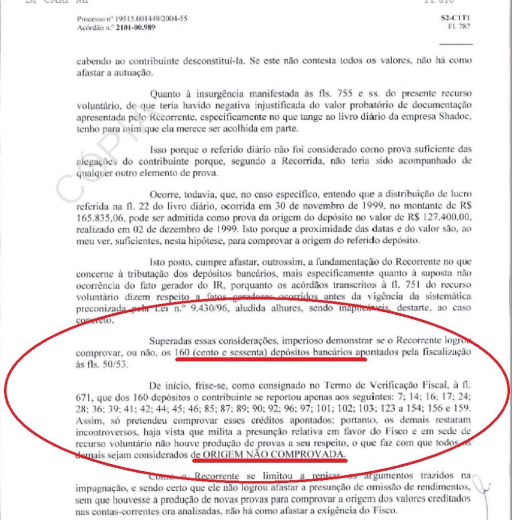 No relatório do CARF a menção aos 160 depósitos dos quais Marcelo de Azeredo apenas conseguiou justifica 27. Os demais 133 não têm origem comprovada. Reprodução