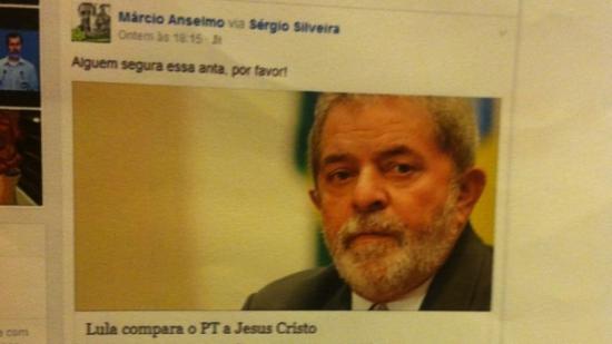 Postagem feita pelo delegado Marcio Adriano anselmo no períod pré-eleitoral. Ele tem isenção para presidir um Inquérito contra o ex-presidente a quem classificou de anta?