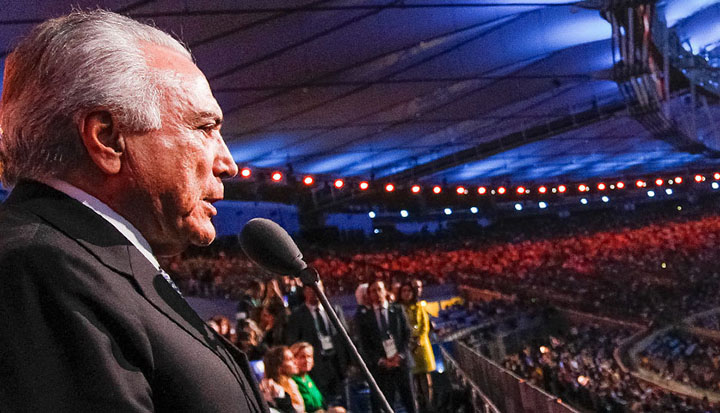 Depois das vaias no Maracanã, Michel Temer mostra descompasso com o que ocorre na segurança pública e até mesmo no que acontece nas Olimpíadas, Foto: Beto Barata/Presidência da República