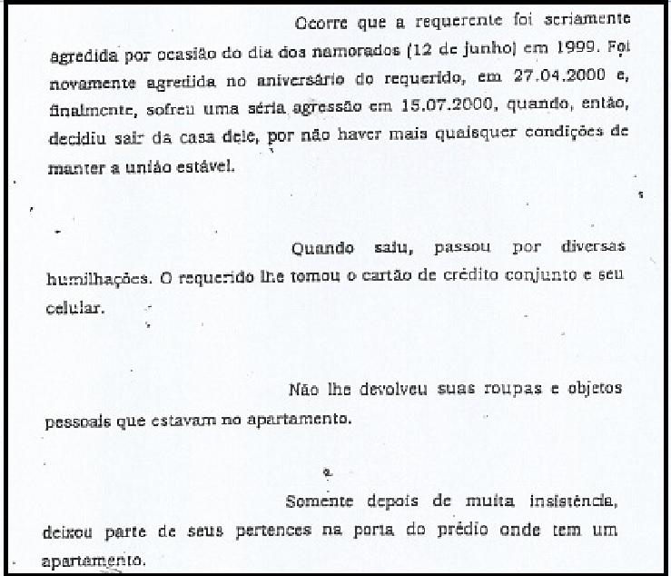 Na ação na Vara de Família, as denúncias de espancamento de Marcelo em Erika. Invenção dos advogados? (Reprodução)