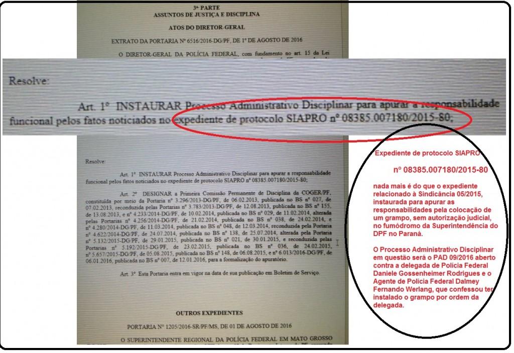 Na Portaria qwue instaurou o PAD contra a delegada Daniele as informações são dissimuladas.