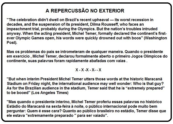 REPERCUSSÃO NO EXTERIOR