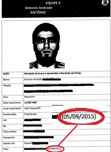 Na ficha de identificação de Antônio, a data do nascimento do filho que estaria sendo treinado para  ser um integrante do Estado Islâmico: e que não constou dos relatórios policiais.