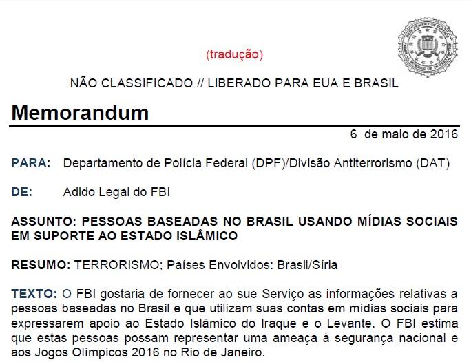 correspondência do FBI devidamente traduzida.