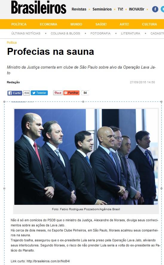 Reprodução das postagem da Revista Brasileiros.