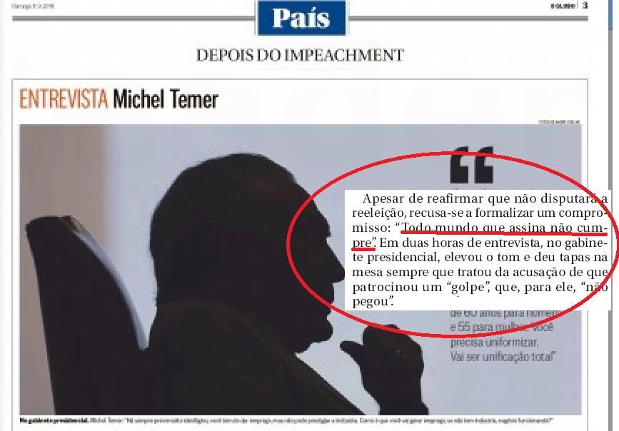 temer em entrevista a  O Globo 11.09.16. pg3