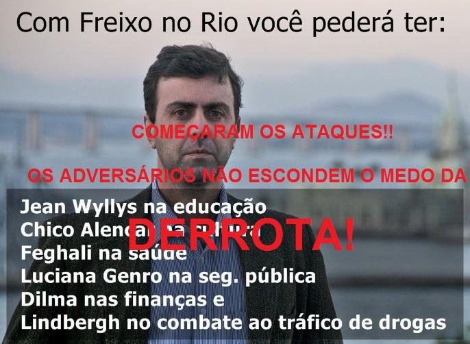 Nas redes sociais já começou a queimação à candidatura de Marcelo Freixo. Inventaram um secretariado dele. Isso só mostra o desespero de quem saiu perdendo.