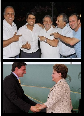 Paes, Cabral, Pedro Paulo e Pezão se beneficiaram dos governos Lula e Dilma; Crivella, apoiou Lula e e foi ministro de Dilma. Mas todos estão hoje com o governo golpista de Michel Temer.